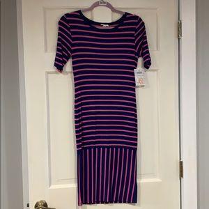 LuLaRoe blue and pink striped Julia dress XS NWT